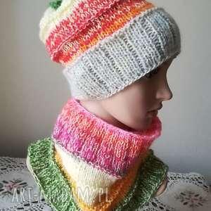 włóczkowa impresja komplet 2 - rękodzieło, komplet, czapka, komin, zima