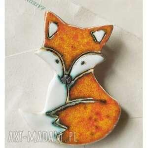 lisek oranżowy broszka, ceramika, lis