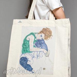 Torba bawełniana (średnia) Schiele kobieta, schiele, sztuka, zakupy, torba, kobieta