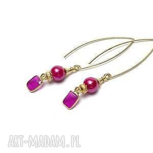 rubinowe łezki - kolczyki, srebro pozłacane, 925, rubiny, perły majorka