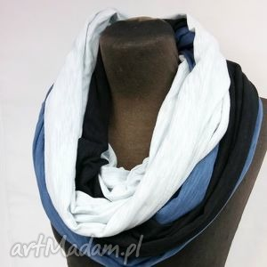komin damski trójkolorowy czarny biały i jeans - wielokolorowy