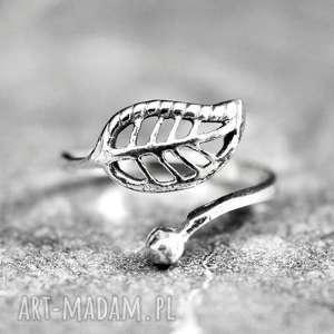 925 Srebrny pierścionek JESIENNY LIŚĆ, jesień, liść, 925, srebro, natura, elegancki