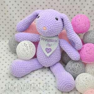 Szydełkowy króliczek lawendowy, królik, maskotka, fiolet, fioletowy, zając