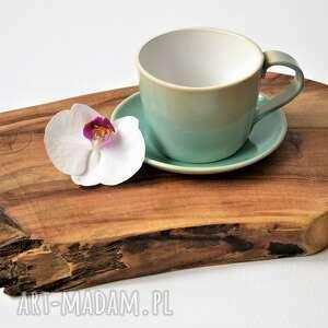 ceramika duża filiżanka ze spodkiem turkusowy kubek ceramiczny 300 ml