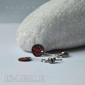 Z Czerwonym Ornamentem, kolczyki, sztyfty, srebro, miedź, surowe, ornament