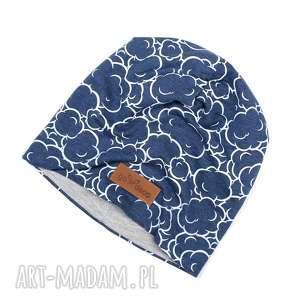 ciepła czapka prezent chmrki granatowa unisex - czapka, ciepła, unisex, chmurki