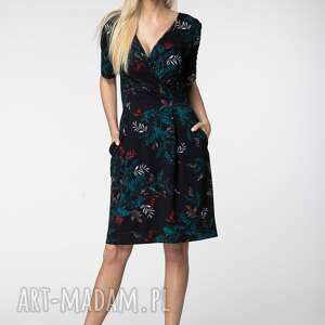 unikalny, sukienka alison, w liście, z wiskozy