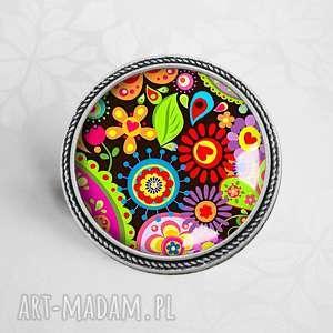 Kolorowa broszka z grafiką w szkle - ,broszka,przypinka,kolorowe,barwna,wesoła,modna,
