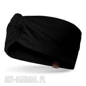 czarna wiosenna opaska na głowę z węzłem, bawełna, dzianina, dresówka, unisex