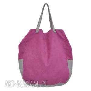 na ramię 06-0013 różowa torba worek xxl zakupy swallow maxi, duże torebki