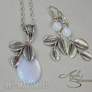 angelo komplet kolczyki wisiorek opal liście, komplet, opal, kolczyki