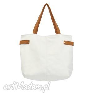 18-0011 Biała torba damska worek xxl na zakupy PEACOCK, markowe, modne, torebki