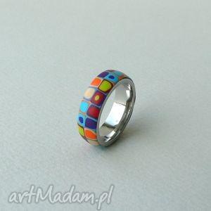 kolorowa obrączka, stal z polymer clay - obrączki, pierścionki, retro
