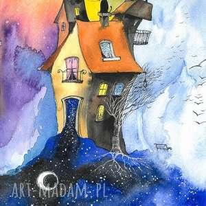 dom strażnika czasu akwarela artystki adriany laube - obraz na papierze a3