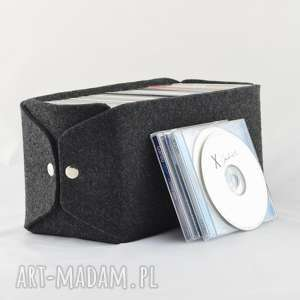 pudełko do przechowywania płyt cd - minimalistyczne z grafitowego filcu