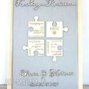 ślub podziękowania ślubne dla rodziców ramka 3d puzzle, podziękowanie rodzicom prezent