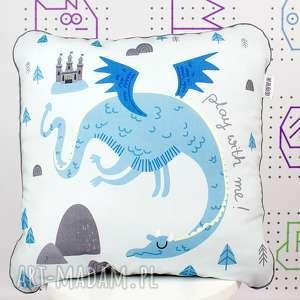 Poduszka Play with Dragon 46x46, poduszka, dekoracyjna, wyprawka, przedszkolak