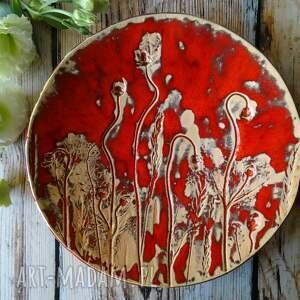 ceramiczna patera letnia łąka, ceramika, patera, miska, dekoracje dla domu, maki