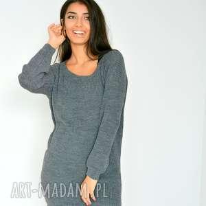 szeroki grafitowy sweter tunika oversize, tunika, sweter, sweterek, włóczka