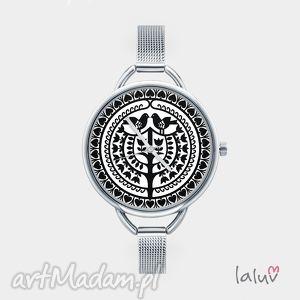 zegarek z grafiką kurpie - wycinanka, ludowe, folk, ludowa, etniczne, prezent