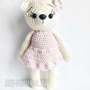 Kremowa misia w różowej sukience - Handmade