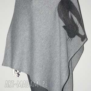 ręcznie wykonane poncho ponczo wełna zdobione