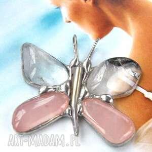 wisiorki wisiorek motyl różowo-kryształowy, z kryształem