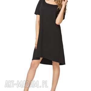 sukienka rozkloszowana t188, czarny, sukienka, rozkloszowana, krótki, rękaw, kolor