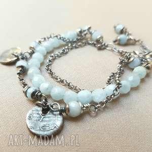 ręcznie wykonane bransoletki bransoletka ze srebra i akwamarynu