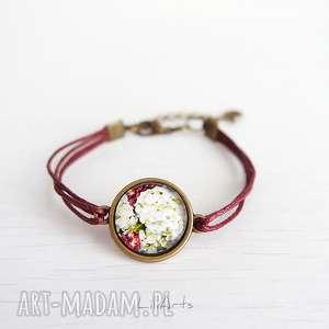 Bransoletka - hortensja bordowa, sznureczki liliarts bransoletka