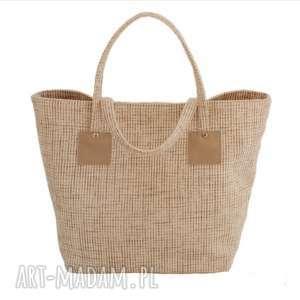 37-0002 Beżowo-biała torebka shopper bag 3w1 / ekologiczna torba na zakupy OWL