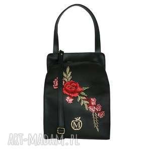 stylowa torebka torba manzana z kwiatami- czarna - torba, torebka, damska, kuferek