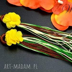 wdart kolczyki z chwostami i kwiatkiem, koralikowe, kolczyki, eleganckie