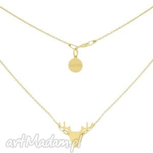 złoty minimalistyczny naszyjnik z jeleniem, złoty, naszyjnik, celebrytka