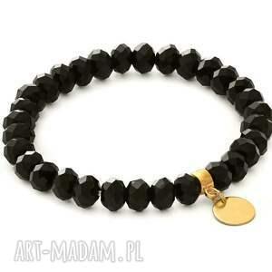ręcznie zrobione bransoletki black crystals with coin pendant.