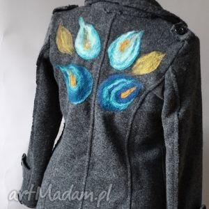 ręcznie robione kurtka wełniana filcem okraszana