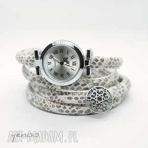 zegarki zegarek, bransoletka - beżowy owijany, wężowy