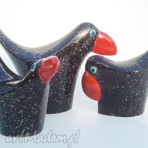 wróble w czerni cerama - zwierzęta, dekoracja ceramika, ptaki
