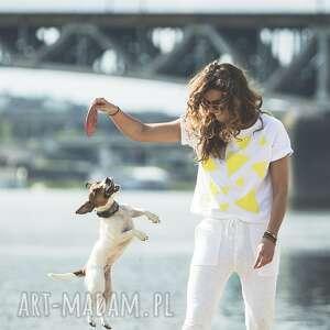 T-SHIRT - KOSZULKA TRIANGLE MESS SUNNY, biała, koszulka, t-shirt, bawełna, trójkąty