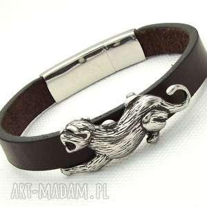 handmade męska puma brązowa bransoletka skórzana ze stalowymi elementami dla mężczyzny