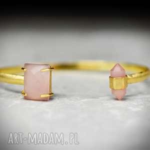 pozłacana bransoletka z kamieniami różowego kwarcu - kamień, kwarc