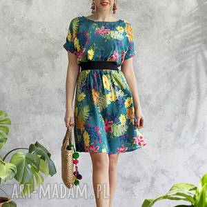 hanka sukienka turkusowa w kwiaty, sukienka, midi, wiskoza, wygodna, uniwersalna
