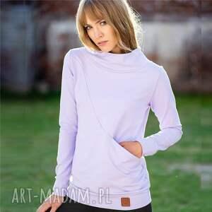bluza ze stójką kangur liliowa, bluza, kangur, bawełna