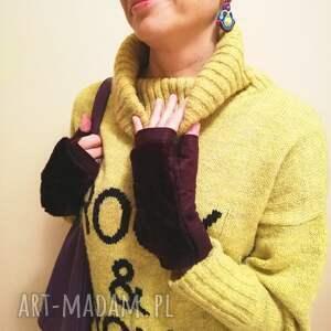 ręcznie wykonane rękawiczki rekawiczki bezpalcowe z futerkiem fiolet