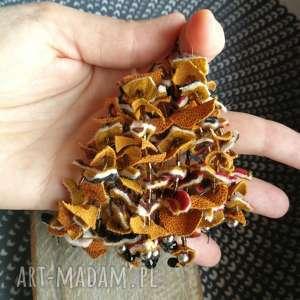 Kolczyki liście drzewa natura skóra etno boho ruda klara