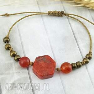 1183/- subtelna bransoletka z kamieniami - koral, bransoletka