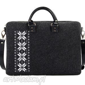 na laptopa torba filcowa romby srebrne, modna, haftowana, filcowa, pojemna