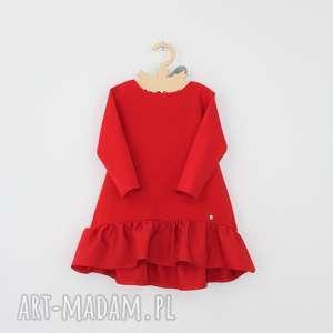 ręcznie wykonane ubranka sukienka z falbana i kokarda