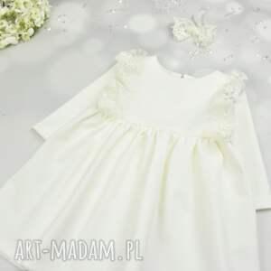 sukienka ecru do chrztu z koronka i opaska, chrzest, sukienki, zkoronka