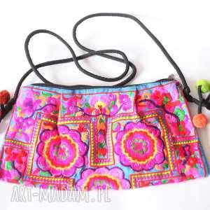 torba haftowana orientalna , torebka, kolorowa, etno, orient, boho, pompony